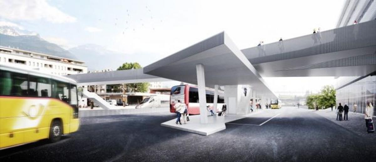 Parking sous terrain du complexe gare Sud à Sierre
