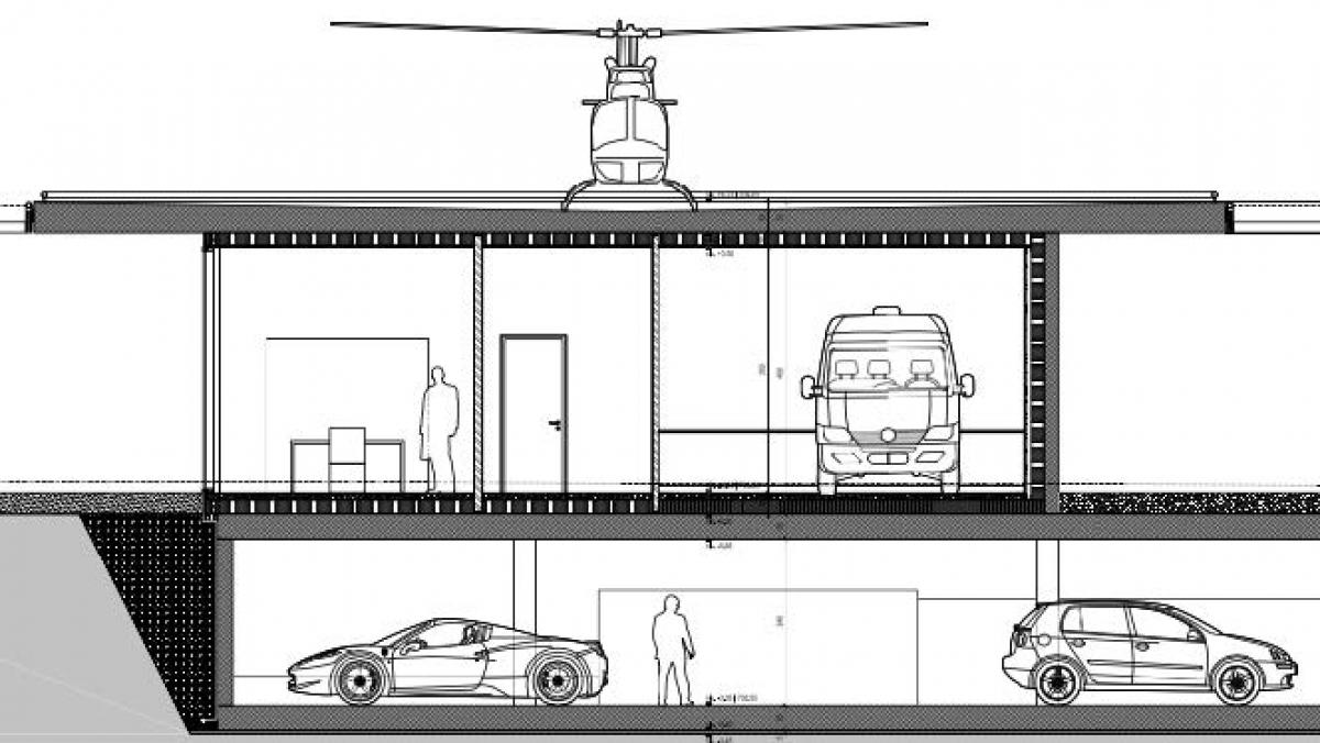 Parking sous terrain de l'héliport à Sembrancher